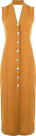 0711 button-down dress - Brown