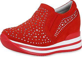 Scarpe Vita Women Sneaker Wedges Rhinestone Platform Front 191683 Red UK 6.5 EU 40