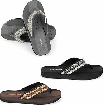 Urban Beach Mens Squash Toe Post Beach Flip Flops Sandals Shoes (Sizes Adults 6-11) (Squash UK Size 7 in Black)