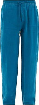 Vilebrequin Pacha Logo-patch Linen Trousers - Mens - Blue
