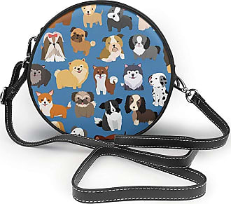 Turfed Cute Animal Dogs Print Fashion Round PU Crossbody Handbag Round Shoulder Bag For Women Girls