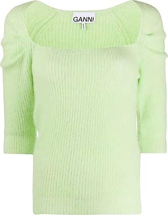 Ganni Suéter de tricô com decote quadrado - Verde