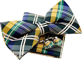 Retreez Elegant Tartan Plaid Check Woven Microfiber Pre-tied Bow Tie (Width: 5) with Pocket Square and Cufflinks, Gift Box Set as a Birthday, Christmas Gift -