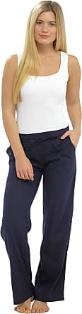 Tom Franks Ladies Linen Blend Full Length Summer Beach Holiday Trousers with Ribbed Back (18, Navy)