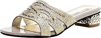Mediffen Women Block Heels Slides Sandals Open Toe Studded Bohemia Mule Slippers Summer Casual Outdoor Slippers Comfort Mule Sandals Gold Size 40 Asian