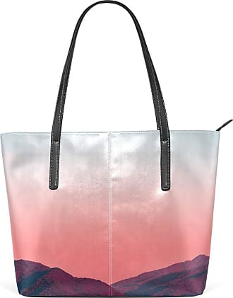NaiiaN Purse Shopping Tote Bag Light Weight Strap Leather Nature Sunrise Lake Mountain Scenery Flower Handbags for Women Girls Ladies Student Shoulder Bags