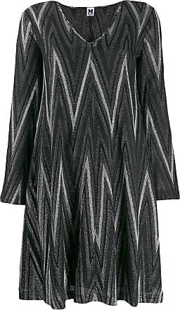 M Missoni Zigzag metallic knit dress - L900h Nero Argento