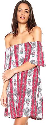 FiveBlu Vestido FiveBlu Curto Ombro-a-ombro Rosa Branco e353622dbacfa