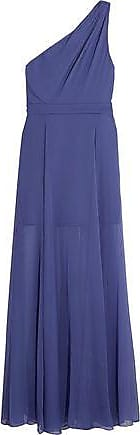 Halston Heritage Halston Heritage Woman One-shoulder Pleated Chiffon Gown Indigo Size 6