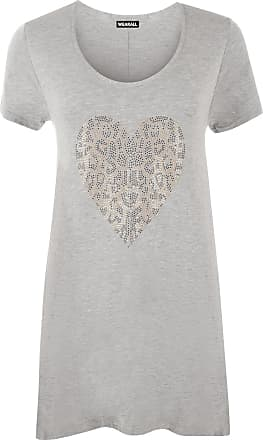 WearAll Womens Plus Size Gold Animal Heart Hanky Hem Ladies Short Sleeve Long Top - Light Grey - 22/24