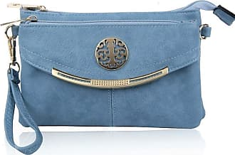 LeahWard Womens Three Zipper Compartment Cross Body Bags 111 (Quay Blue 111)