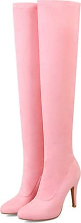 NOADream Women High Heels Over-The-Knee Stiletto Boots Leather Suede Stylish Warm Party Wedding Evening Thigh High Boots Size Pink