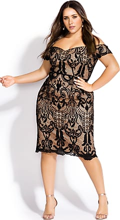 4cb8922f34 City Chic Decadent Lace Dress - Black in Black / Nude - Size 14 / XS