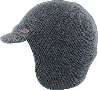 KuSan 100% Wool Fleece Lined Peaked Cap with Ear/Neck Warmer (Charcoal)