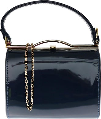 Girly HandBags Girly HandBags Patent Faux Leather Clutch Bag Top Handle Handbag - Navy