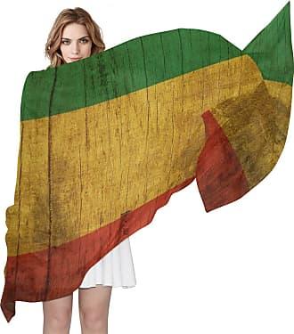 Lorona Womens Rasta Flag Wooden Scarf Sheer Silky Feeling Long Scarves Lightweight Wrap Shawl