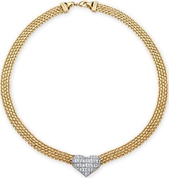 PalmBeach Jewelry 5/8 TCW Diamond Accent Puffed Heart and Flat Chain Link Necklace 18k Gold-Plated