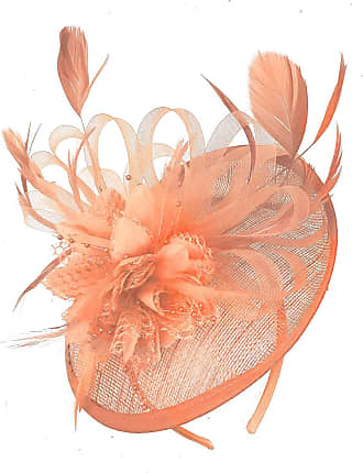 Caprilite Peach Nude Sinamay Disc Saucer Fascinator Hat for Women Weddings Headband