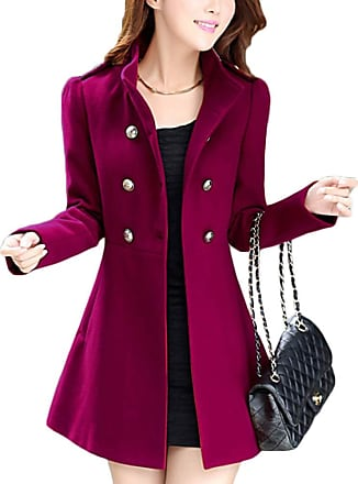 Yonglan Womens Double Breasted Woolen Blend Coat Thin-Waist Middle Long Warm Winter Jacket Wine Red XS