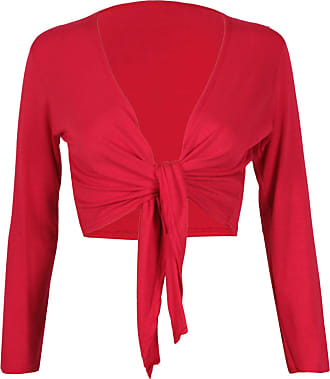 Purple Hanger Womens Long Full Sleeves Ladies Stretch Bolero Cropped Cardigan Front Tie Knot Shrug Top Red 12-14