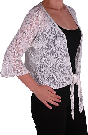 Eyecatch Oversize 12-26 - Darcey Ladies Sequin Cardi Tie Shrug Lace Bolero Top Womens Plus Size White 12-14