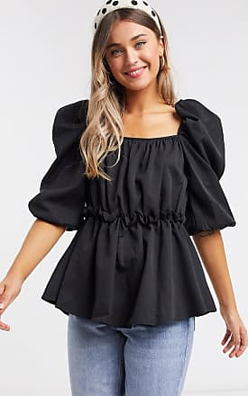 In The Style x Lorna Luxe extreme puff sleeve top in black