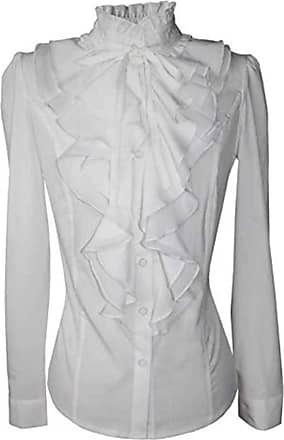 QUINTRA Women Lace-up Solid Long Sleeve Blouse Chiffon Ruffled Collar Tie Shirt (14, White)