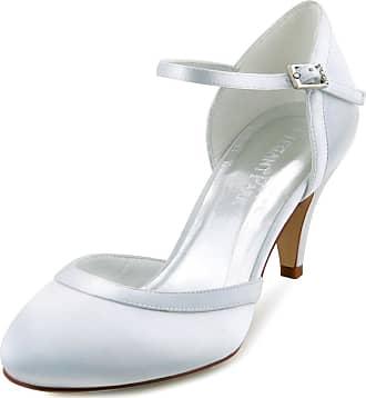Elegantpark HC1509 Wedding Shoes for Bride Kitten Heels Bridal Shoes Closed Toe Satin Buckle Prom Wedding Court Shoes White UK 6(EU 39)