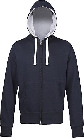 Awdis Mens Chunky Zoodie Full Zip Hoodie Double-Fabric Hood Stylish Fit JH052 (Medium, New French Navy (Grey Inner))