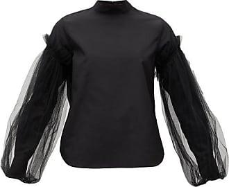 Comme Des Garçons Tulle-sleeve Cotton-poplin Shirt - Womens - Black