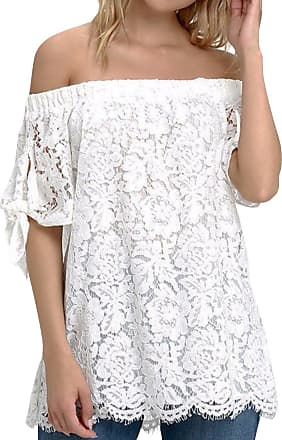 Zanzea Womens Off Shoulder Lace Tops Sexy Floral Lace Crochet Blouse Casual Short Sleeve T-Shirt Top-White UK 10-12