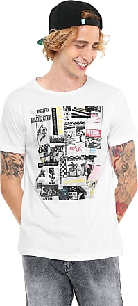 Ride Skateboard Camiseta Ride Skateboard Manga Curta Estampada Branca