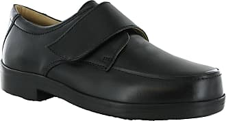 Roamers Wide Fit EEE Velcro Strap Flat Leather Smat Casual Shoes (UK 12, Black)