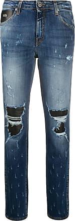 John Richmond Calça jeans reta com efeito destroyed - Azul