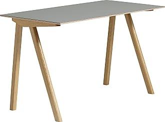 HAY Copenhague CPH90 Schreibtisch Linoleum - grau/Tischplatte Linoleum/Gestell Eiche massiv klar lackiert/LxBxH 130x65x74cm