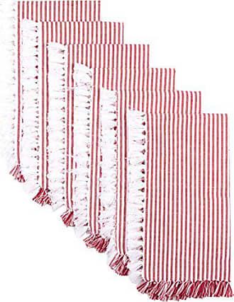 VHC Brands Americana Farmhouse Tabletop & Kitchen - Ashton Napkin Set of 6, Red