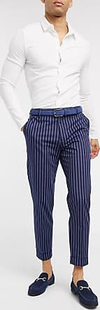 Burton Menswear tapered smart trousers in blue stripe