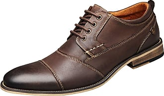 Jamron Mens Elegant Genuine Leather Derby Lace-ups Square Cap Toe Formal Dress Shoes Oxfords Coffee UK11.5