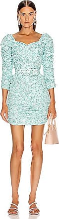Nicholas Crossover Gathered Dress in Blue,Floral