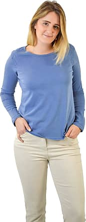 White Label Womens Blue Cotton Round Neck Long Sleeve Cotton Jersey Top Famous Quality Brand Size 12