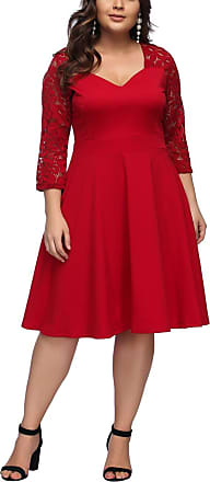 FeelinGirl Womens Plus Size Evening Dresses V Neck Half Sleeves High Waist A Line Christmas Party Dress (Long-red, UK 14-16 L)