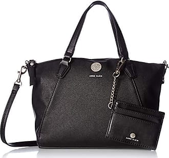 Anne Klein Womens Top Zip Satchel, Black