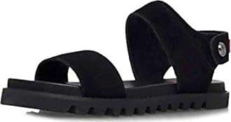 99bd9ebc7b32 Hunter Hunter Frauen Org Leather Sandal Offener Zeh leger Leder Flache  Sandalen Schwarz Groesse 6 US