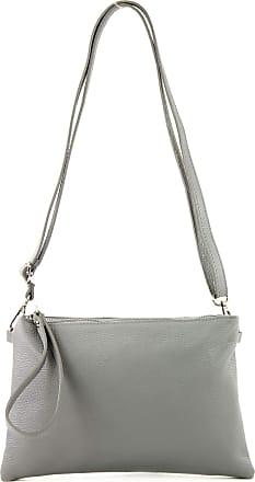 modamoda.de T186 - Italian Clutch/Shoulder Bag Leather Medium, Colour:Tele gray
