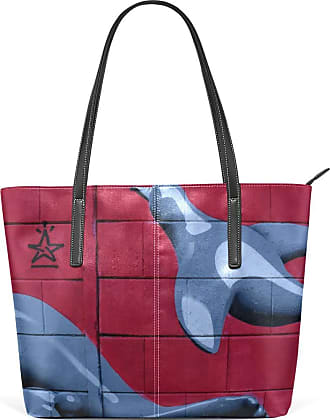NaiiaN Tote Bag Leather Creative Pigeons Strange Stars Doodle for Women Girls Ladies Student Handbags Light Weight Strap Purse Shopping Shoulder Bags Animal