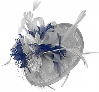 Caprilite Silver Grey and Navy Blue Sinamay Disc Saucer Fascinator Hat for Women Weddings Headband