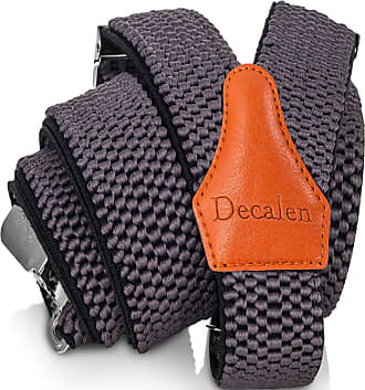 Decalen Mens Braces with Very Strong Clips Heavy Duty Suspenders One Size Fits All Wide Adjustable and Elastic Y Style (Grey 1)