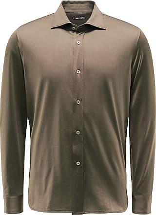 Tom Ford Jersey-Hemd Kent-Kragen khaki bei BRAUN Hamburg