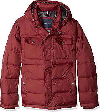 Tommy Hilfiger Mens Big Nylon Two Pocket Hooded Puffer Jacket, Burgundy, 2X Athleti