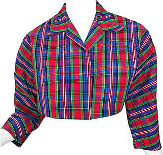 78419d0c0d6 Betsey Johnson Early 1990s Betsey Johnson Red Blue Green Taffeta Plaid  Vintage Cropped Jacket